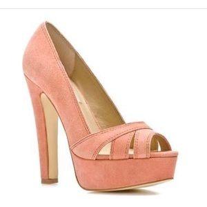 Steve Madden pink suede platform peep toe heels
